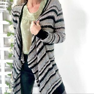 AE long striped Loose Knit Cardigan Sweater Sz S